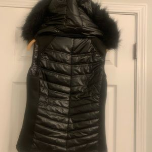Black Puffy Vest with Fur-Trimmed Detachable Hood